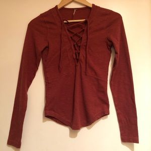 Free People Lace up Orange Long Sleeve Top XS